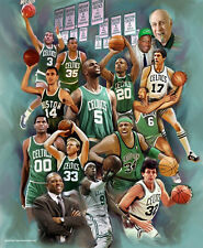 BOSTON CELTICS LEGENDS 15 All-Time Greats Art POSTER Print 1950s-2000s