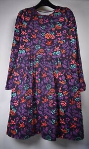 Garnet Hill Girls Organic Cotton Dress LS Kids Birds Flowers Purple NWT XL 12/14