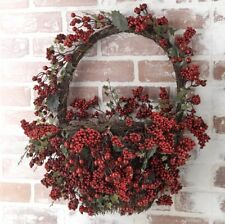 "NEW!~RAZ Imports~22"" Red Berry Wall Basket~Wreath/Door Decor/Christmas/Grapevine"