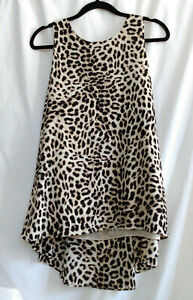 Vince Camuto Sz L High Low Pleated Back Sleeveless Tank Blouse Tunic Top Leopard