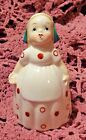VINTAGE 1950'S HAND PAINTED PORCELAIN DUTCH GIRL SINGLE SHAKER - MADE IN JAPAN