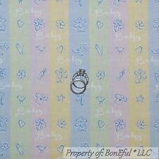 BonEful FABRIC FQ Cotton Quilt Blue Pink Yellow Green White BABY Pastel Unisex