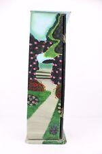 "CD DVD Media Storage Tower Rack Hand Painted Unique Flowers Garden Farm 23 1/2"""