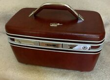 Vintage Samsonite Silhouette Burgundy Red Hard Side Train Makeup Case with Key