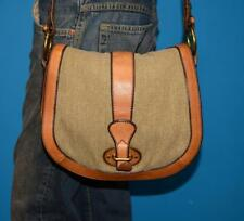FOSSIL VINTAGE REISSUE Brown Leather Canvas Saddle Flap Cross-body Purse Bag
