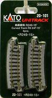 "NIB N Kato #20-101 Unitrack 9 3/4""r R249-15 Curved Track 4 Pieces"
