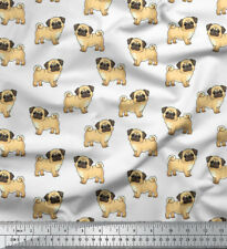 Soimoi Dressmaking Pug Dog 58 Inches Wide Decorative Cotton Fabric By The Mtr