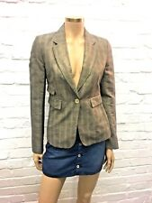 Joseph Stunning Golden Hued Plaid Linen Blazer UK Size 10