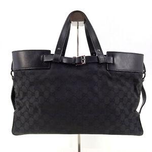 GUCCI Guccissima Supreme GG Monogram Top Handle Grab Bag in Black Made in Italy