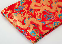 "28"" ORIENTAL SILK DAMASK JACQUARD BROCADE FABRIC : CHINESE RED GOLDEN DRAGON ="