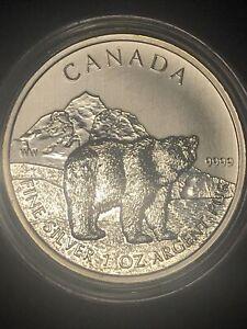 CANADA 2011 Grizzly Bear 1 Ounce Silver Coin $5 Canadian Wildlife Choice BU