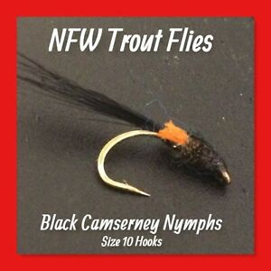 Quality Trout Flies - 3 Black Camserney Nymphs - # 10 Hooks (New)