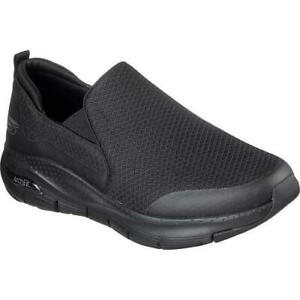 Skechers Arch Fit Mens Black Extra Wide Fit Slip On Trainers Shoes Size UK 6-13