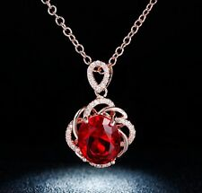 """Created Red Ruby Necklace Pendant Gemstone 14k Gold 16"""" Chain"""