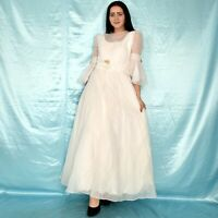 Manches Trompette Tulle Robe de Mariée Pétales XS 34 Vintage Bal