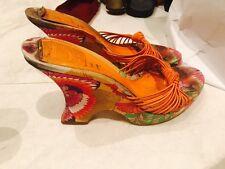 Vintage Christian Dior Colorful Japanese Garden Wedges Heels Shoes Pumps Sz41