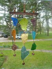 Slag Glass Sun-catcher Handmade with 9 pcs of slag glass wrapped in copper wire