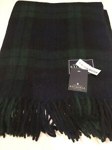 House of Balmoral Scottish Large Wool Rug Blanket Blackwatch Tartan Check Throw