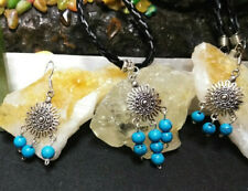 Necklace and Earring Set  Turquoise Earrings Sterling Sliver Natural Stone