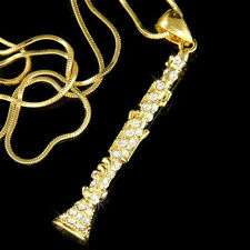 Clarinet made with Swarovski Crystal Woodwind Music Musical Instrument Necklace