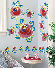 Cottage Rose Garden Wall Murals Roses Floral Flower Decal Stickers Blue Red  Pink