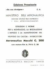 WWII Macchi MC.200 Saetta historic Italian Maintenance Manual RARE DETAILS WW2