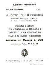 WWII Macchi MC.200 Saetta historic Italian Maintenance Manual RARE DETAILS WW2