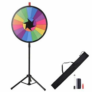 WinSpin 60 cm Floor-Standing Editable Color Prize Wheel 18 Slot Spinning Game