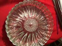 Vintage Hazel Atlas Luncheon Clear Glass Daisy Sunflower Plates Set Of 4