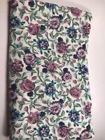 "Vintage Floral Fabric Cotton Pink Blue Purple Flowers  1 yard x 58"" wide"