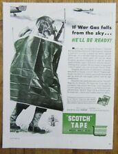1943 SCOTCH TAPE Chemical Warfare Protective Cloak WWII Era Magazine Ad