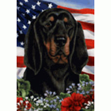Patriotic (1) House Flag - Black and Tan Coonhound 16402