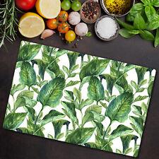 Glass Cutting Board Green Banana Leaves Exotic Modern Tropical 80x52