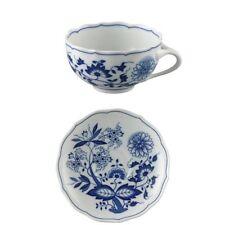 Hutschenreuther blau Zwiebelmuster Teetasse und Untertasse Porzellan 220 Ml