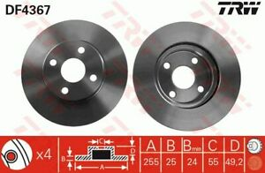 TRW Brake Rotor Front DF4367S fits Toyota Corolla 1.8 Sportivo (ZZE123R)