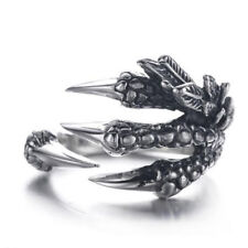 Punk Rock Silver Stainless Steel Adjustable Dragon Claws Band Unisex's Men Ring