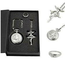 Fullmetal Alchemist Pocket Watch with Necklace Ring Cosplay Prop Gift Set