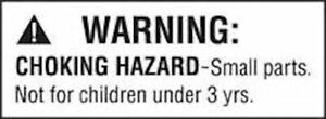 """Choking  Hazard"" Warning labels 21x38mm 65 labels per a4 sheets."