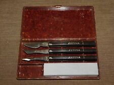 VINTAGE ESTIMA GERMANY DETAIL ETCHING KNIFE SET W/ GRINDING STONE IN CASE