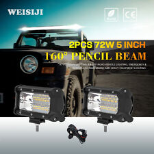 WEISIJI 2Pcs/Set 5inch Tri-Row 72W LED Light Bar with High Intensity Chips Car