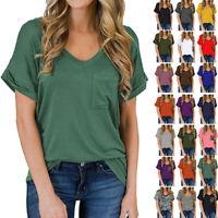 Women Summer V-Neck Pocket Curled Solid T-Shirt Short-Sleeve Casual Loose Tops