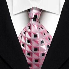 Men's Tie Classic Checks Pink Black JACQUARD WOVEN 100% Silk Tie Necktie F013