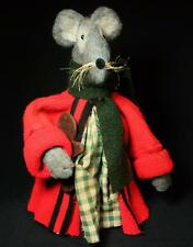 "Rags A. Muffin hand-Crafted Primitive 15"" Felted Wool Mouse Green Gingham Dress"
