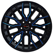 4 Wheels 18 inch Black Blue FLARE Rims fits FORD FOCUS 5 DOOR TITANIUM 2012-2018