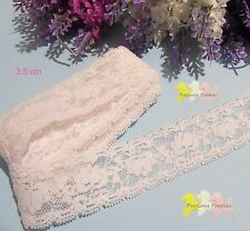 2 Metres Ivory Rose Stretch Lace 35 mm W, Flower Pattern Headbands & All Crafts