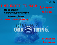 AT&T UNTHROTTLED 25GB 4G Data Plan $34.99 / Month / Hotspot No Contract