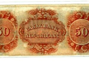 """$50 """"CANAL BANK"""" $50 (REDBACK)1800'S (NEW ORLEANS) """"CANAL BANK"""" SUPER CRISPY!!"""