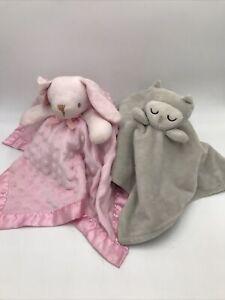 Bunny Blankie Buddy Pink Minky Rabbit Nunu Security Blanket & Owl No Tags