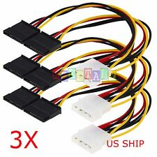 3X IDE Molex 4 PIN To 2X Y Spliter Convert 15 Pin SATA Power Adapter cable cord