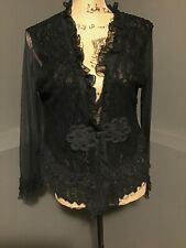 PRETTY ANGEL blouse shirt tunic ruffles lace Vintage Silk/Polyester black Sz M